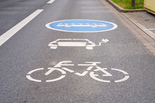 Lane Marking For Electric Cars, Buses And Bicycles.