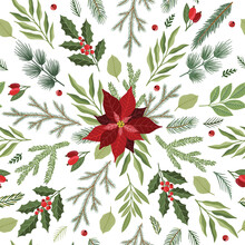 Seamless Pattern With Hand Drawn Poinsettia Flowers And Floral Branches And Berries, Christmas Florals.