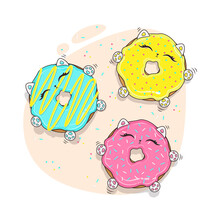 Cartoon Style Illustration Bright Colors Three Cats Donut
