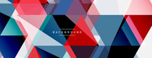 Mosaic Triangles Geometric Background. Techno Or Business Concept, Pattern For Wallpaper, Banner, Background, Landing Page