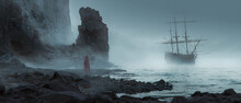 Odd Figure Standing On A Sandstone Beach Near The Ocean Looking At A Ghost Ship Approaching The Coast In A Mist Cloudly Day Foreground Out Of Focus - Concept Art - 3D Rendering