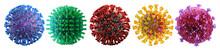 Coronavirus Covid-19 Illness Epidemic New Strains: Delta Variant, Delta Plus Mutation, Alpha, Beta, Gamma Strains Of Corona Virus Flu. Mutated Coronavirus Virus Cell, Covid Disease Pandemic Medical 3D
