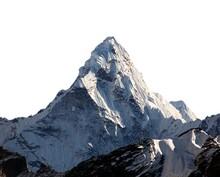 Ama Dablam Isolated On White, Nepal Himalayas Mountains