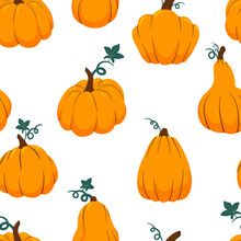 Orange Pumpkins Of Various Shapes Seamless Pattern. Thanksgiving, Harvest And Halloween Autumn Background. Cartoon Vector Fall Texture.