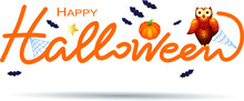 Halloween Text With Pumpkin And Owl, Isolated On White. Vector Illustration Eps10