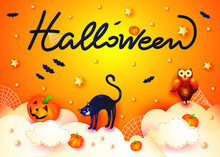 Halloween Background With Cat, Pumpkin, Owl And Text On Orange. Vector Illustration Eps10