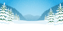 Illustration Of Winter Nature With Snow Covered Trees And Mountains.
