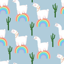 Seamless Pattern With Llamas On A Rainbow With Cactus. Vector Illustration For Baby Texture, Textile, Fabric, Poster, Greeting Card, Decor. Cute Alpaca From Peru. Textures With Animals.