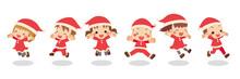 サンタクロースのコスチュームを着てジャンプする可愛い子供たちのイラスト 白背景 クリップアート