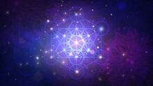 Glowing Geometric Metatron Cube On Floral Patterns Background