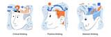 Brain activity. Critical thinking, positive thinking, abstract thinking types of intellection. Decision making, emotional intelligence, positive mindset, psychology and neurology. Creative metaphor