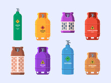 Gas Tanks. Oil Industry Steel Cylinder With Valves Refilling Garish Vector Illustrations Isolated