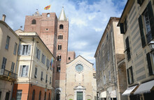 Albenga Is An Italian Municipality Near Savona In Liguria. It Is An Ancient City And Has The Nickname  City Of A Hundred Towers. Here The San Michele Cathedral.