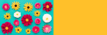 Happy Mother's Day, Women's Day, Valentine's Day Or Birthday Pastel Blue And Yellow Background. Multi Colored Flat Lay Greeting Card Banner With Beautiful Flowers.