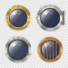 Round Ship Window. Metallic Spaceship Or Submarinas Illuminator Transparent Hole Futuristic Rocket Industry Safe Doors Decent Vector Realistic Templates