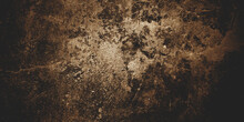 Old Concrete Wall Background, Gold Brown Concrete Has A Fibrous For Background.