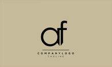 Abstract Letter Initial Af Fa Vector Logo Design Template