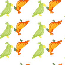 Green And Orange Colored Parrots Silhouettes Seamless Doodle Pattern. White Background. Isolated Print.