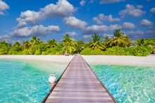 Idyllic Tropical Beach Landscape For Background Or Wallpaper. Design Of Tourism For Summer Vacation Holiday Destination. Maldives Island Beach Panorama. Palm Trees And Beach Bar And Long Wooden Pier