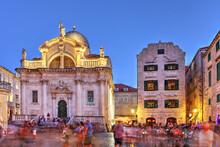 Church Of Saint Blaise Along The Stradun Main Street In Dubrovnik, Croatia