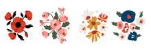 Set Of Vector Floral Arrangements. Cute Bouquets For Creating Fashion Prints, Postcard, Wedding Invitations, Banners, Floral Arrangement Illustrations. Botanical Illustration  On White Background.