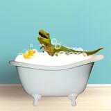 Fototapeta Kawa jest smaczna - Cute green toy dinosar bathing in bath tub with soap foam. Modern design, contemporary art collage. Inspiration, idea, trendy urban magazine style.