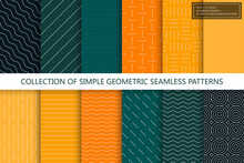 Collection Of Seamless Geometric Minimalistic Patterns. Simple Dotted And Striped Textures - Endless Backgrounds. Color Textile Repeatable Prints. You Can Find Seamless Design In Swatches Panel