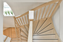 Wooden Staircase With Balustrade In Modern House