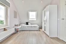Children Bedroom Interior With Furniture In Attic