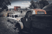 Old Classic Russian Car Near Road. Photo In Old Image Style