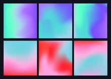 Set De 6 Fondos Degradados En Colores Neones Y Pastel Fondos Elegantes Vectores