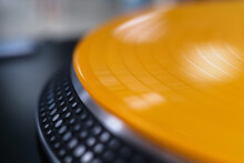 Vinyl Record With Music On Turn Table Player. Dj Turntables With Analog Disc In Close Up. Professional Audio Equipment For Disc Jockey