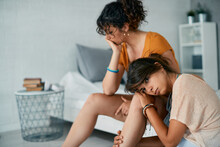 Young Displeased Gay Women Have Relationship Difficulties At Home.