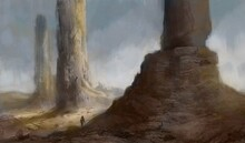Fantasy Painting Of A Traveler Exploring A Desert Landscape With Rocky Towers On An Alien Planet - Digital Illustration