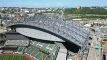 Cinematic 4K Aerial 360 Drone Shot Of T-Mobile Park Stadium Downtown Seattle With Yesler Terrace And Beacon Hill In The Background