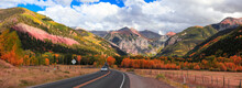 Scenic Landscape In Colorado, Road To Telluride, Surrounded With San Juan Mountains During Autumn Time