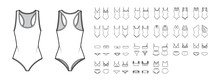 Set Of Swimsuit Lingerie Technical Fashion Illustration With One Piece Or Separate Bras And Panties. Flat Brassiere Template Front, Back, White Color Style. Women, Men, Unisex Underwear CAD Mockup
