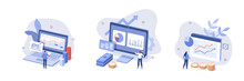Characters Analyzing Stock Market Data And Planning Investment Strategy. People Examining Financial Graphs, Charts And Diagrams. Stock Trading Concept. Flat Isometric Vector Illustration And Icon Set.