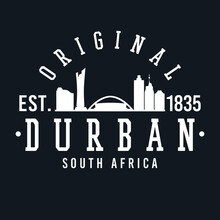 Durban, South Africa Skyline Original. A Logotype Sports College And University Style. Illustration Design Vector City.