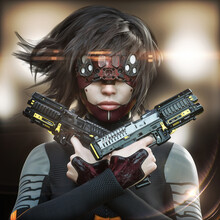 Portrait Of A Futuristic Sci Fi Female Wearing A Tactical Jump Suit And A Science Fiction Visor .Blurred Lights Background With Lens Flares. 3d Rendering