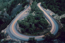 Landscape Of The Rowena Crest Viewpoint With Cars Driving On It With Long Exposure In Oregon