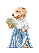 Watercolor Vintage Girl Dog Golden Retriever In Dress Holding Lace Fan Isolated On White Background. Hand Drawn Illustration Sketch