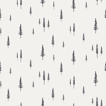 Spruce, Fir Trees Silhouettes, Minimal Winter Seamless Pattern, Black On Gray Background. Hand Drawn Vector Illustration. Design Concept For Kids Textile, Fashion Print, Wallpaper, Packaging.