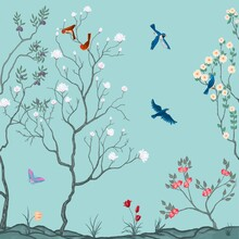 Exotic Chinoiserie Blue Background, Wallpaper, Murals.Two Couples Of Small Birds Sitting On The Branches Of The Tree. A Butterfly Flies In The Sky