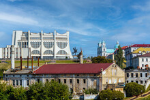 Summer Panorama Of Grodno - An Abandoned Brewery In The Foreground, A Drama Theater Building In The Middle Plan And A Catholic Farny Church In The Background