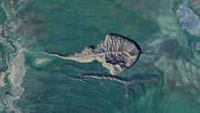 Batagaika Crater Looking Down Aerial View From Above, Bird's Eye View Batagaika Crater, Sakha Republic, Siberia, Russia