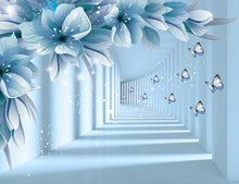 3d Picture Of Flowers And Butterflies On A Blue Background