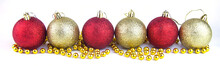 Yellow And Red Christmas Balls In A Row Long Banner.