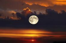 Big Moon On Orange Red Pink  Dramatic Cloudy  Night Starry Sky  Sunset At Blue  Orange Dark  Cosmic Universe  Sunbeam Flares Beam