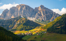 Corvara In Badia Charming Small Italian Mountain Village In The Valley In The Background Sassongher Beautiful Mountain, Province Of Bolzano, Val Gardena, South Tyrol